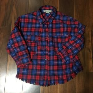 Flying Tomato Frayed Bottom Cropped Plaid Flannel